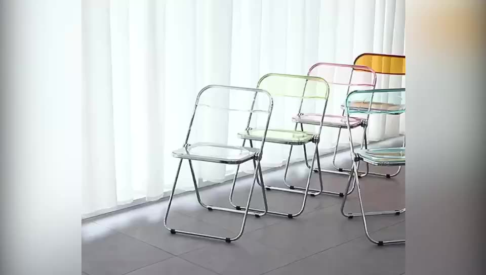 Hot Selling Transparent Plastic Plia Folding And Stacking Chair Available In Multi-color