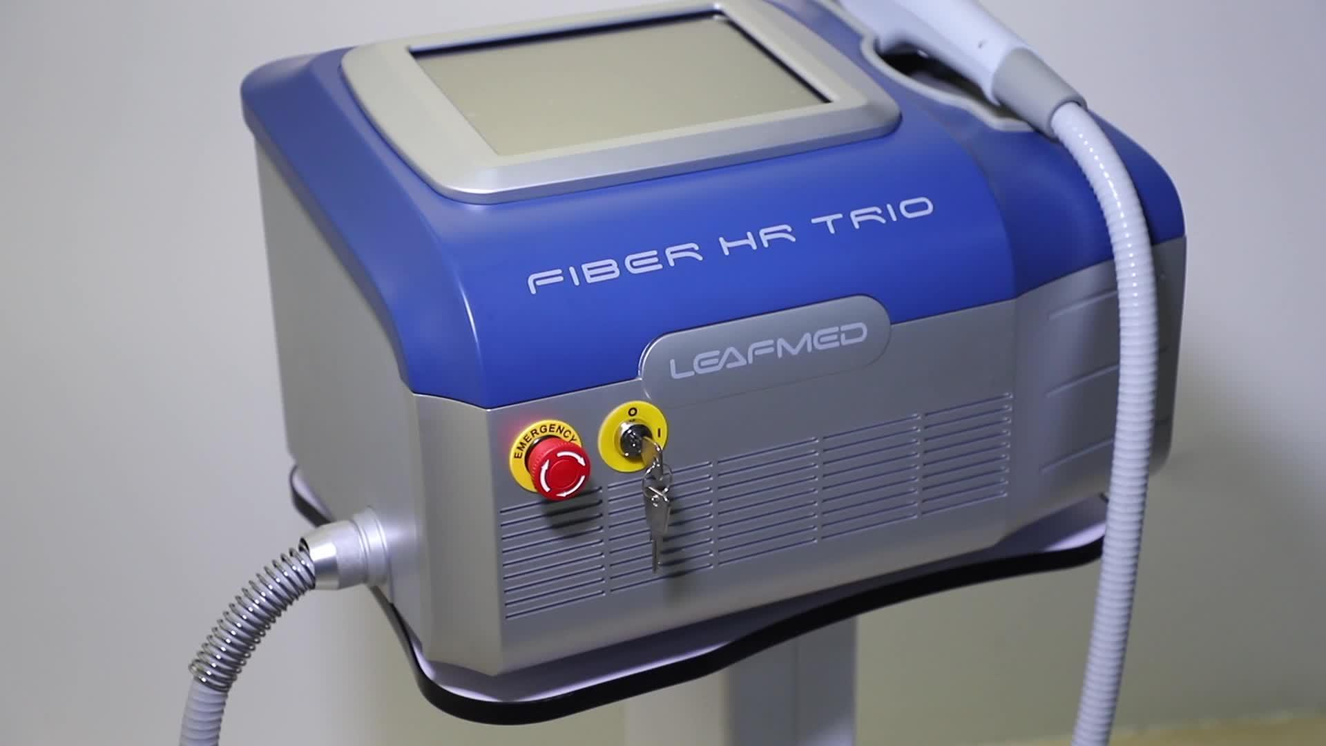 Leaflife fibra accoppiata diodo laser 3 lunghezze d'onda macchina di rimozione dei capelli perfetto per la pelle scura