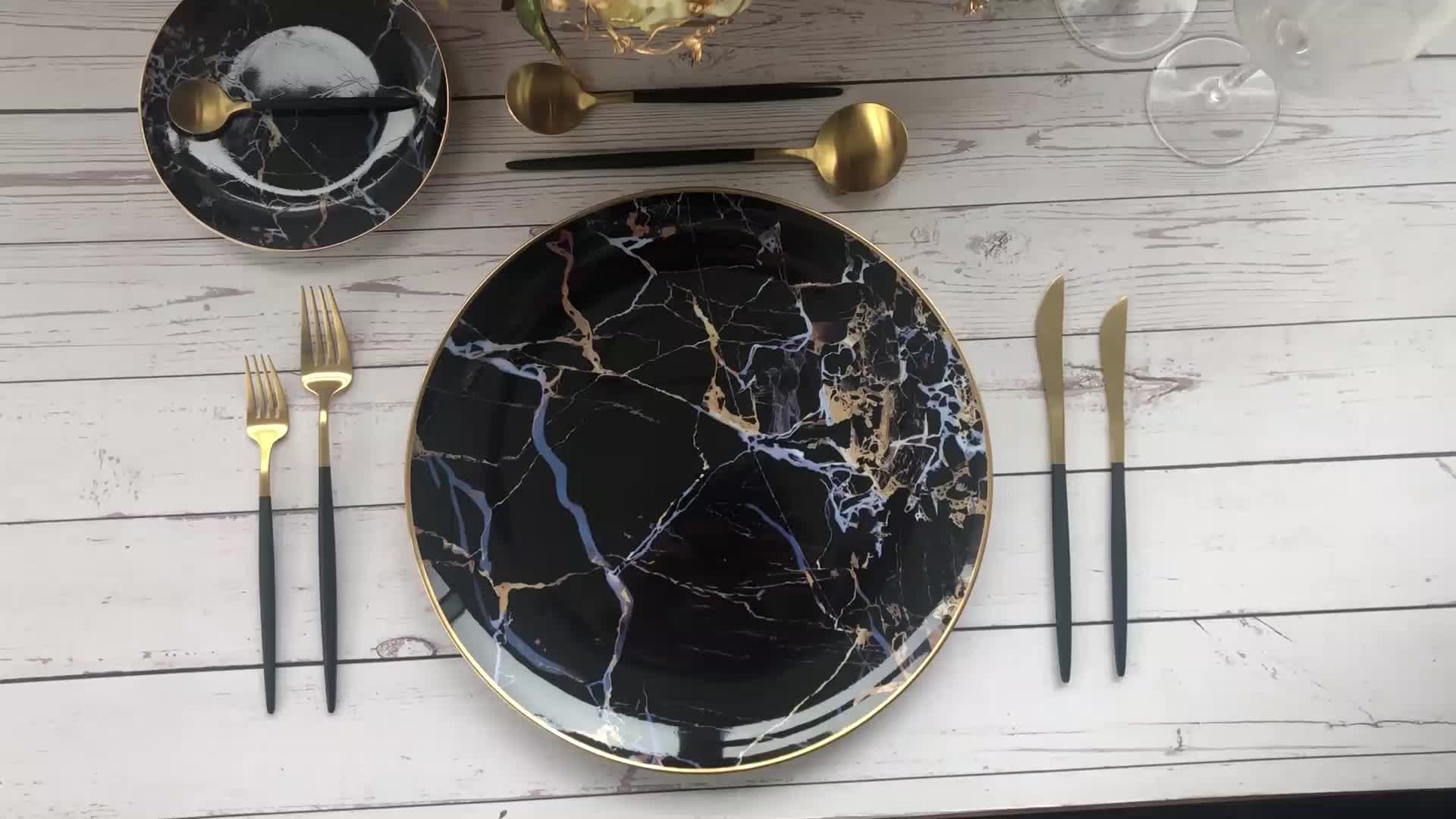 Black Marble 4pcs home used l dishes plate sets ceramic dinnerware set for wedding decoration
