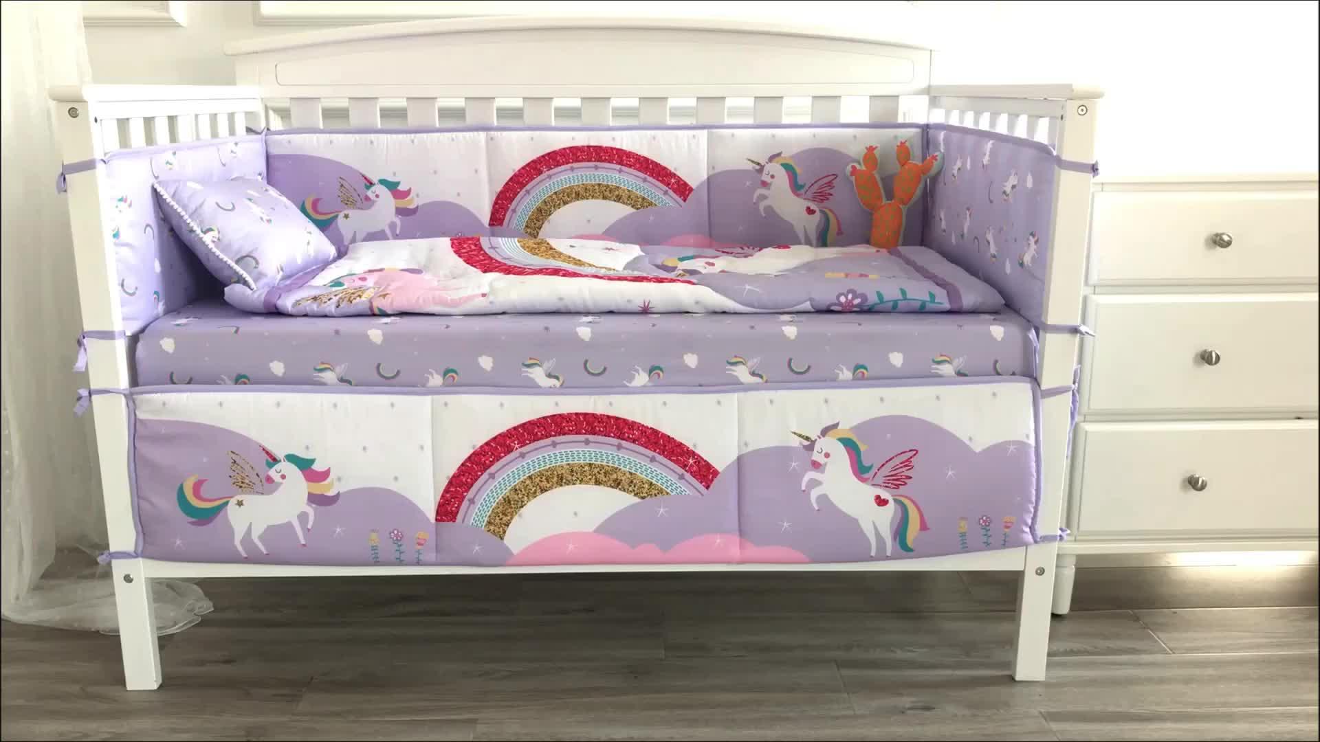 Cầu Vồng Unicorn Chủ Đề Cot Đặt Nôi Bộ Đồ Giường Hữu Cơ Giường Cũi Em Bé Giường Đặt Cho Cô Gái