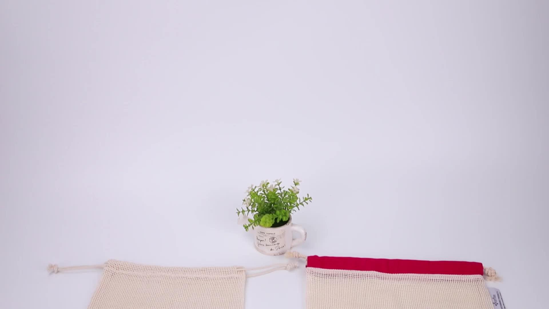 無料サンプル格安エコ再利用可能なスーパーマーケットショッピング網袋 100% 認定生態オーガニックコットン生成メッシュバッグ