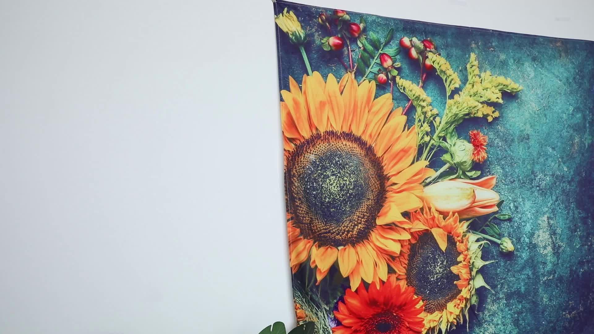 Groothandel custom art bohemian zonnebloem tapijt muur decor opknoping wandtapijten