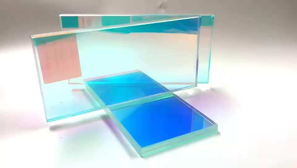 Customized colorful rainbow tempered decorative glass