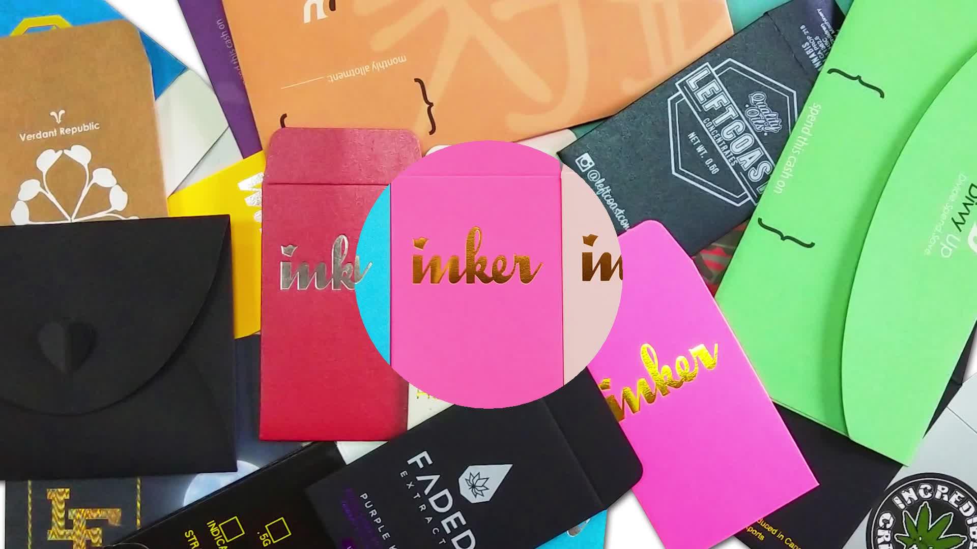 Kualitas Tinggi Warna-warni Kustom Pecah Envelopes CMYK Trendi Ketegangan Label Konsentrat Kemasan Ekstrak Amplop Kemasan