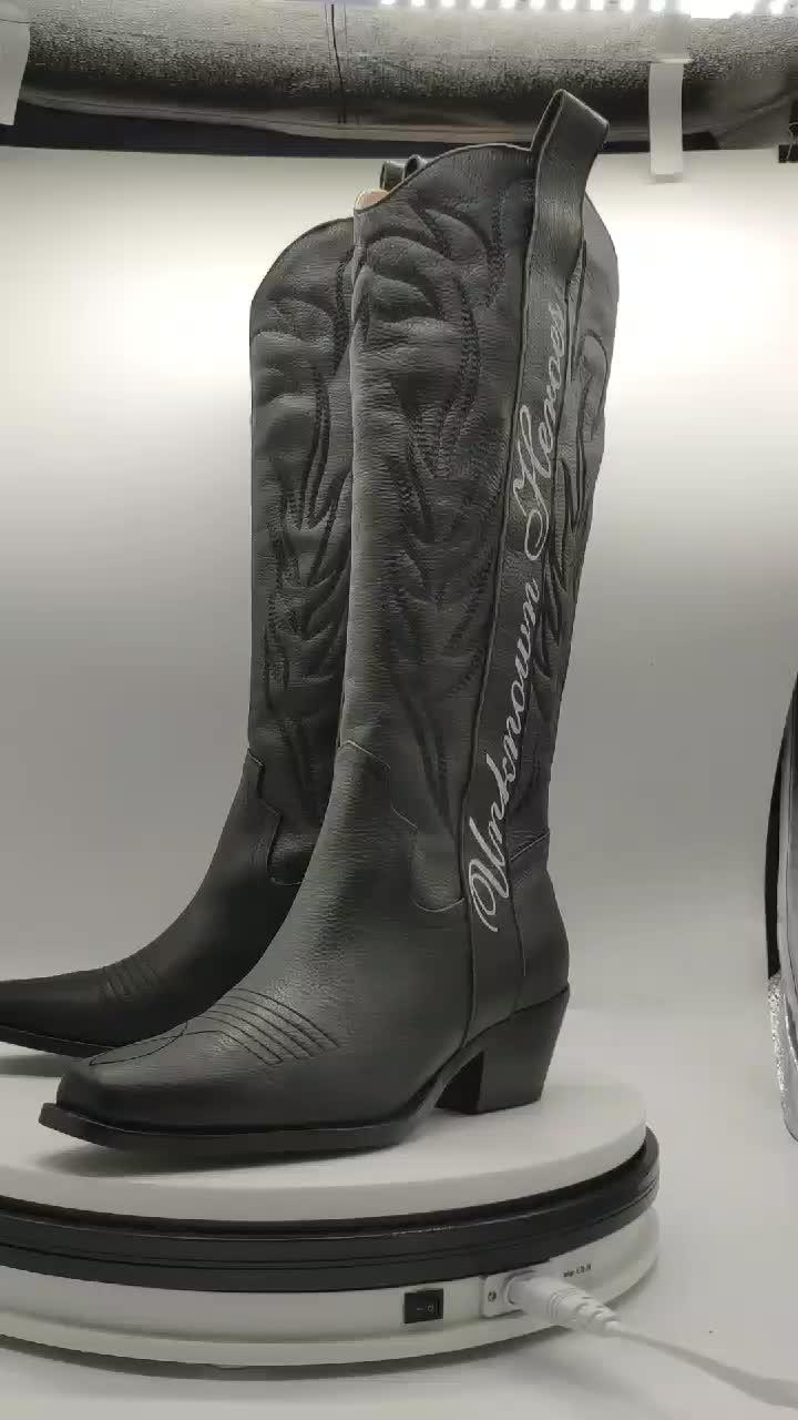 ファッション chaussure ファム冬の本革西部カウボーイ女性チャッカブーツ