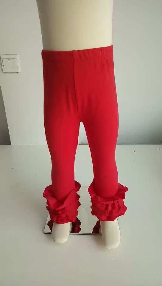 RTS Stocked Factory Classic Kids Long Pants Solid Spring Color Baby Girls Icing Ruffle Leggings