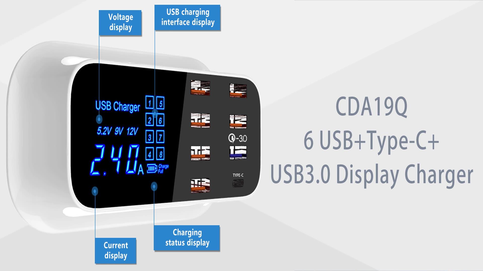 जल्दी चार्ज 3.0 स्मार्ट यूएसबी प्रकार सी चार्जर स्टेशन एलईडी प्रदर्शन तेजी से चार्ज पावर एडाप्टर डेस्कटॉप पट्टी मोबाइल फोन यूएसबी चार्जर