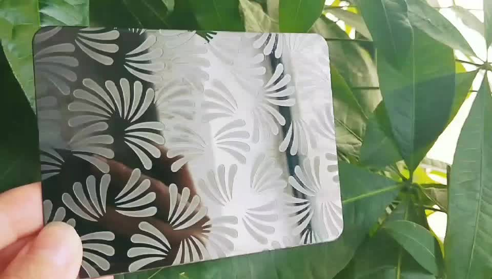 L0009 Most Popular 304 Flower Pattern Etched Customized Black Stainless Steel Sheet For Bar Decorative