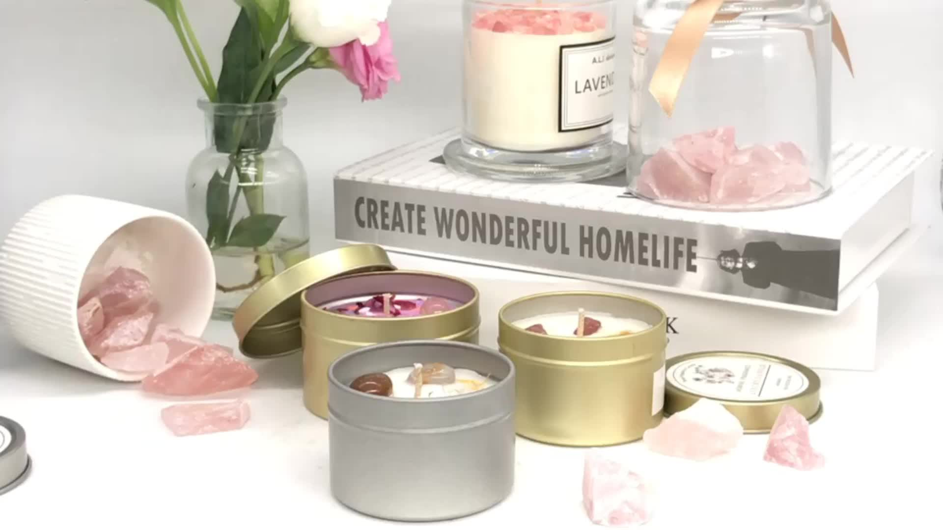 Luxury Custom Home Decoration Crystal Stone Natural Soy Wax Scented Tin Candle