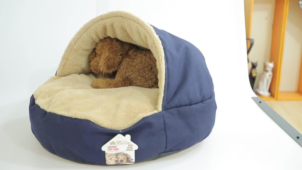 Custom Groothandel Thuis Goederen Kleine Schattige Pluche Hond Bed, nieuwe Ontwerp Private Label Zachte Luxe Ronde Hond Bed