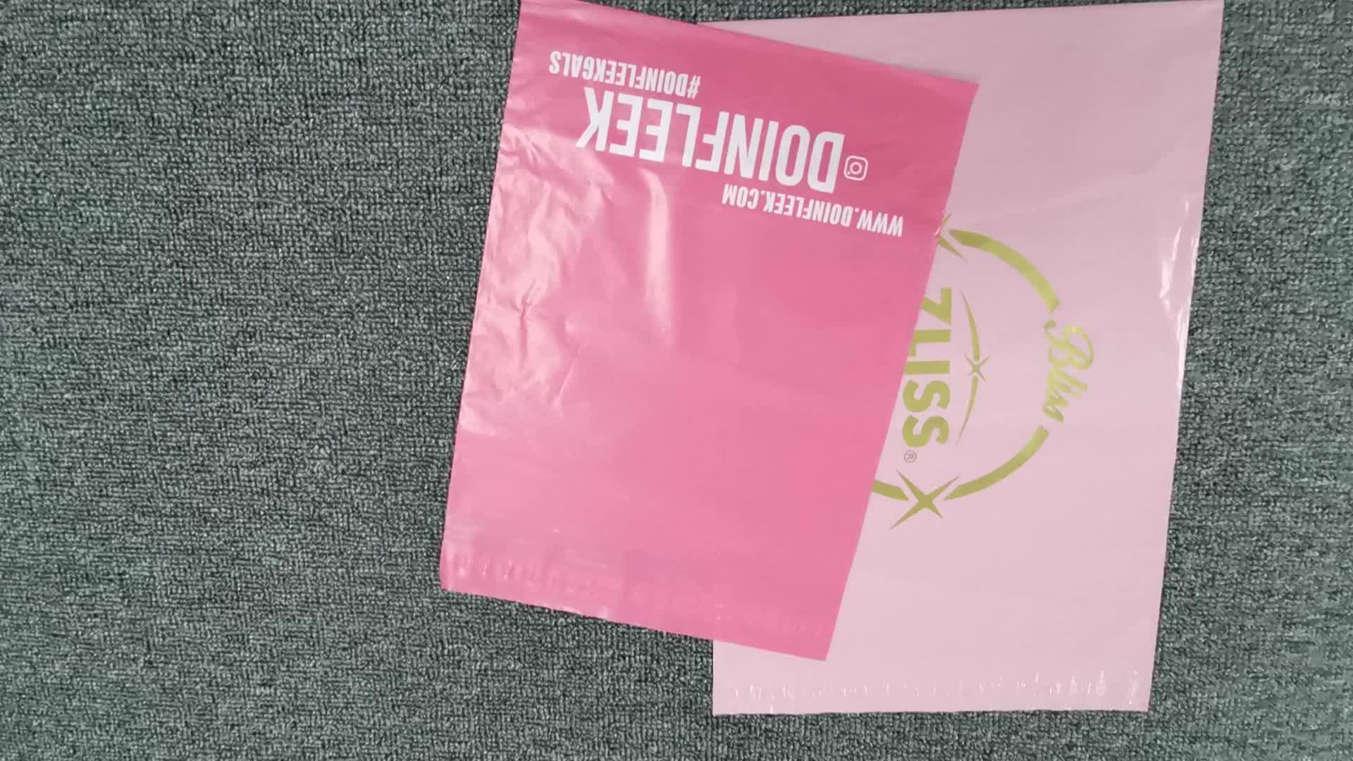 Compostable mailing packaging postal envelope plastic parcel bag custom matte pink 20x30 corn polymailers