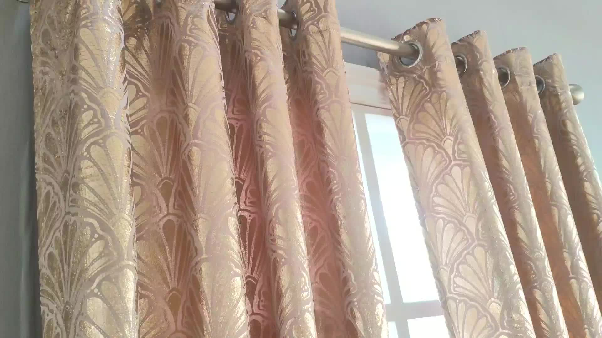 Luxury European Curtains for Living Room Velvet Curtains Gold Print High Shading Window Curtains for Dining Room Bedroom