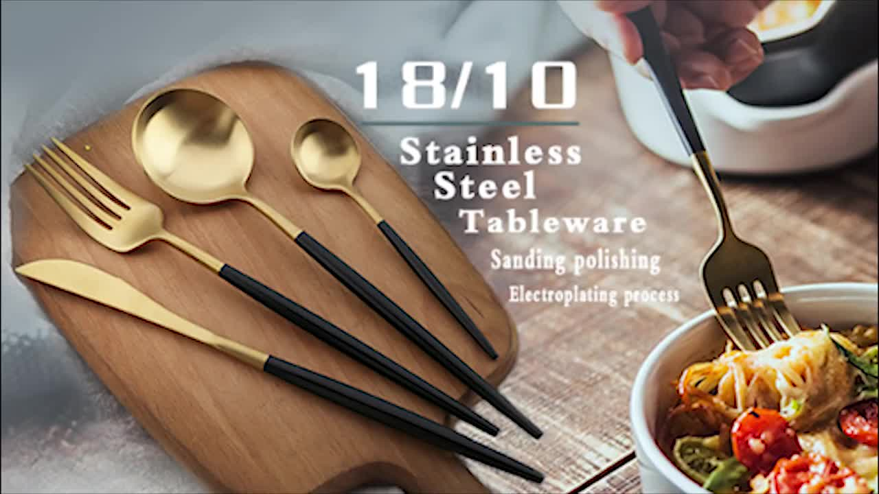 Korean  cutlery Set Nice Design Stainless Steel 304 Dinner Gold Plated Korean Spoon Chopstick With Customized Logo