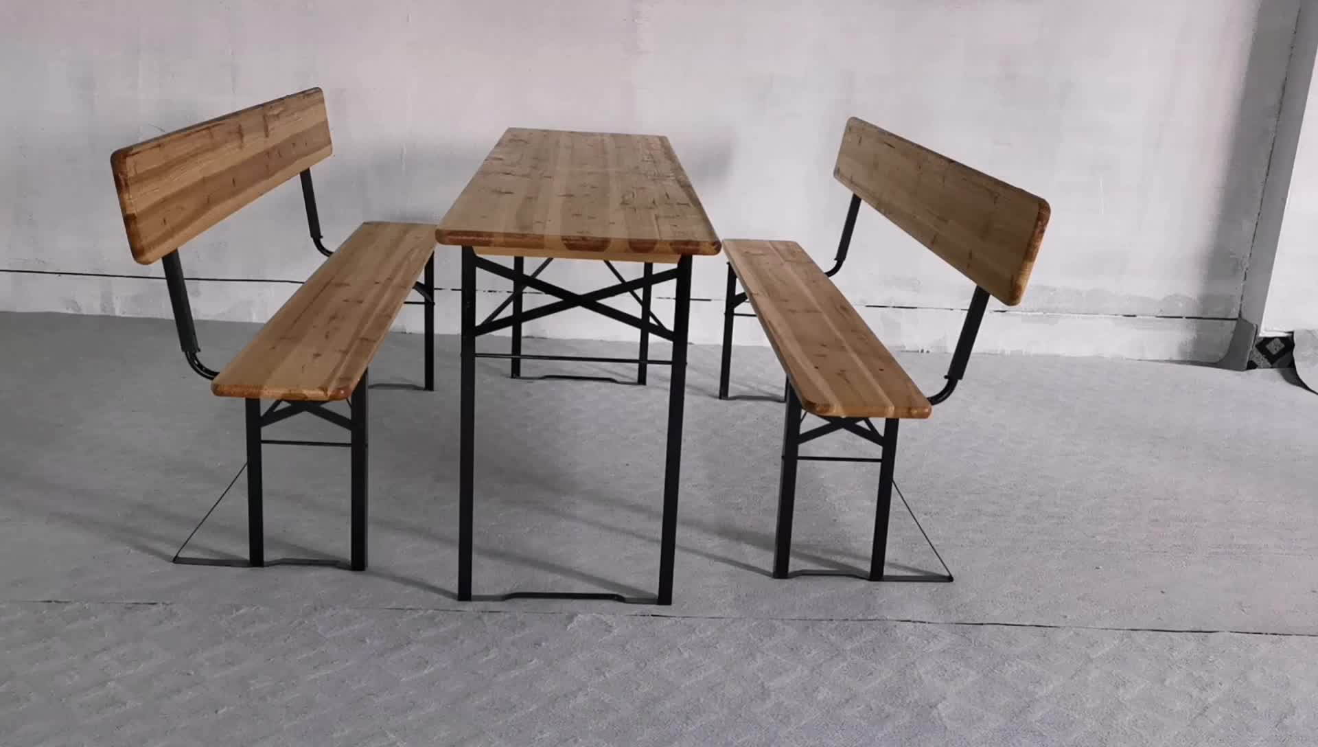 High Quality Outdoor Furniture Foldable Wooden Beer Table Set