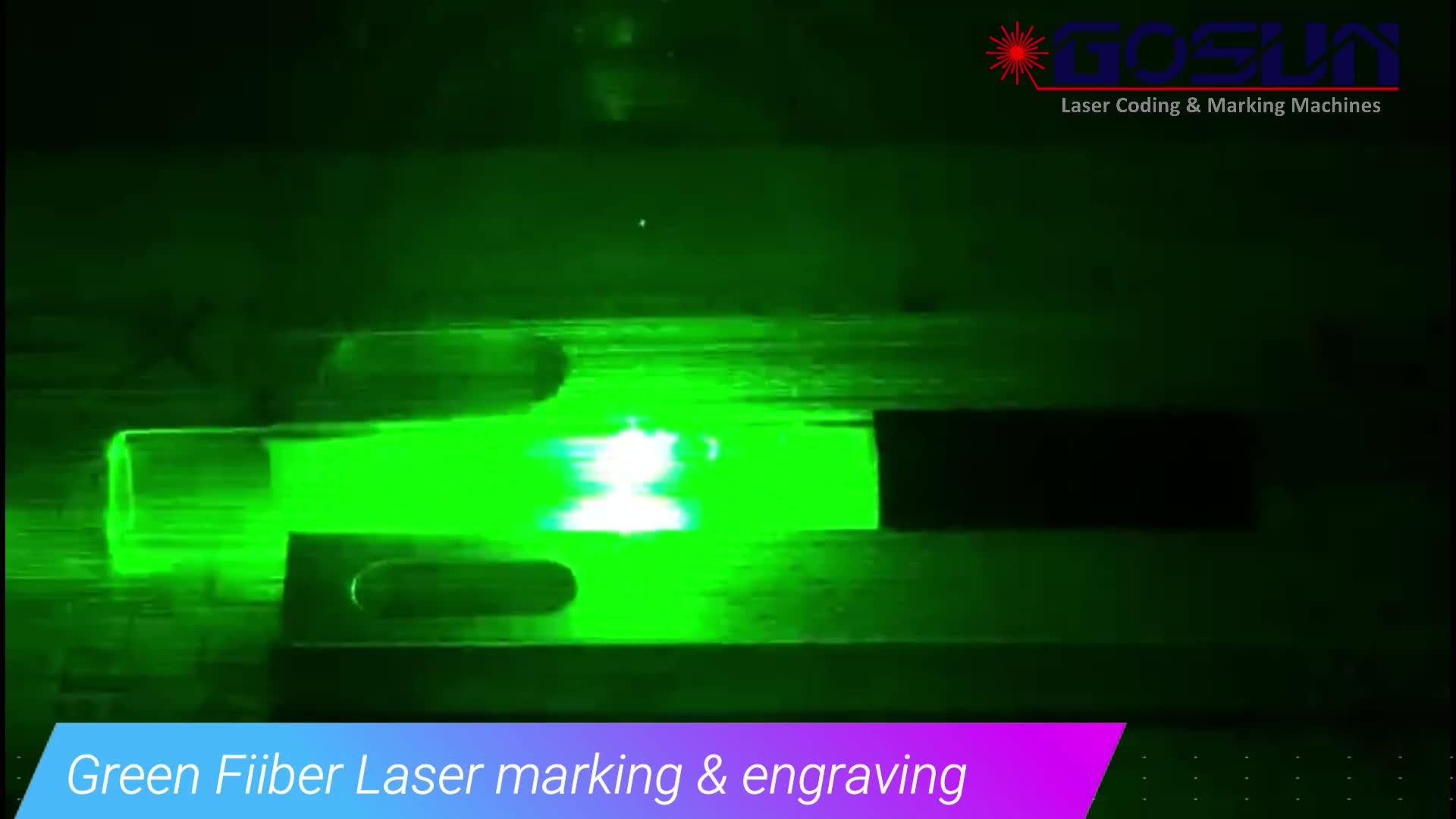 Máquina de gravura verde da marcação do laser da fibra 5 watts para o filme de revestimento de superfície do cristal de vidro