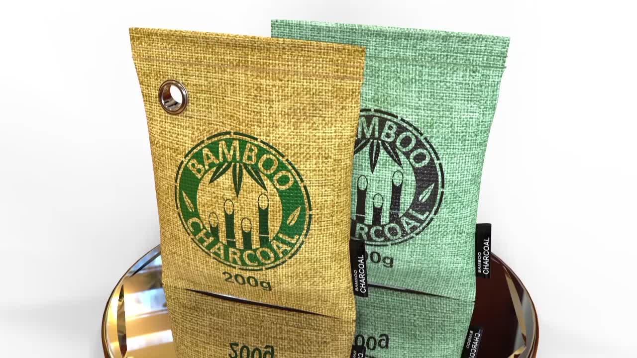 75g D'épuration D'air De Charbon de bois en Bambou Naturel Sacs avec logo personnalisé