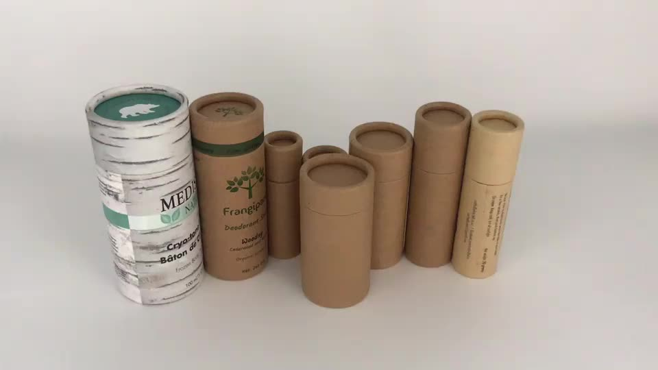 eco friendly cylinder brown push up kraft paper tube packaging for lip balm container