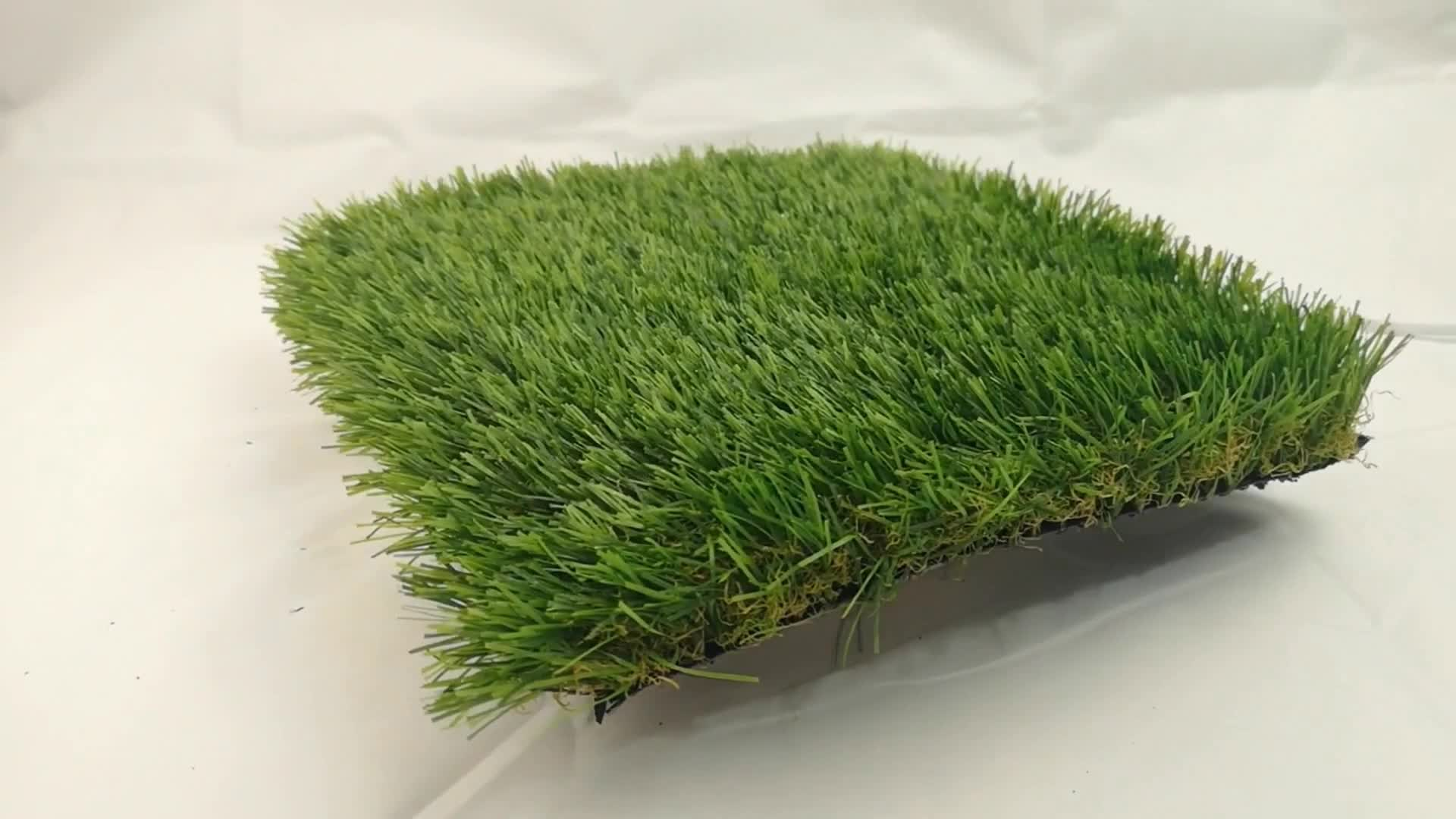 Chinese artificial grass turf  4 tone synthetic grass outdoor lawn