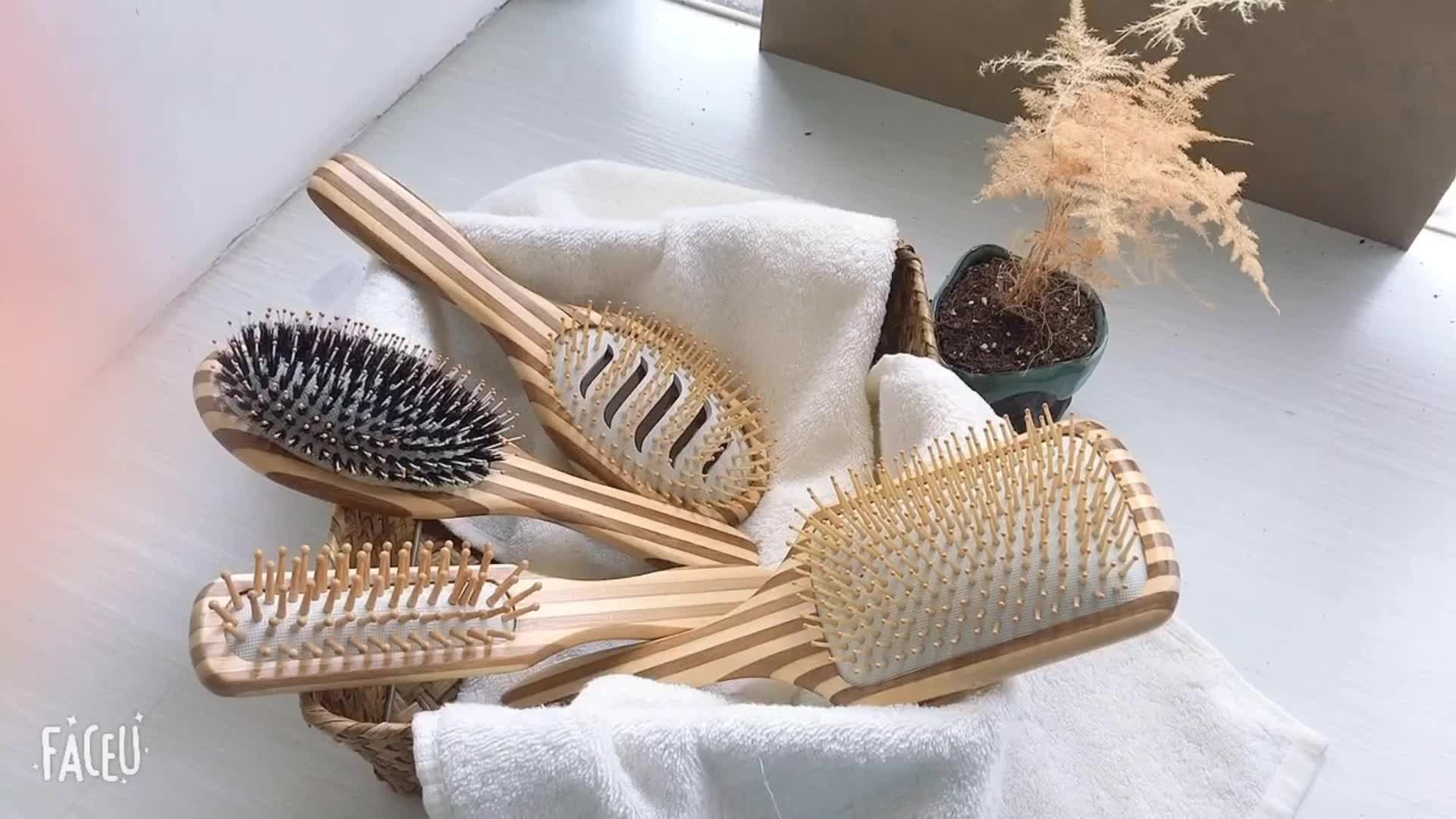 Private Label Bamboo Products Wholesale Boar And Nylon Pin Bristle Hair Massage Brush