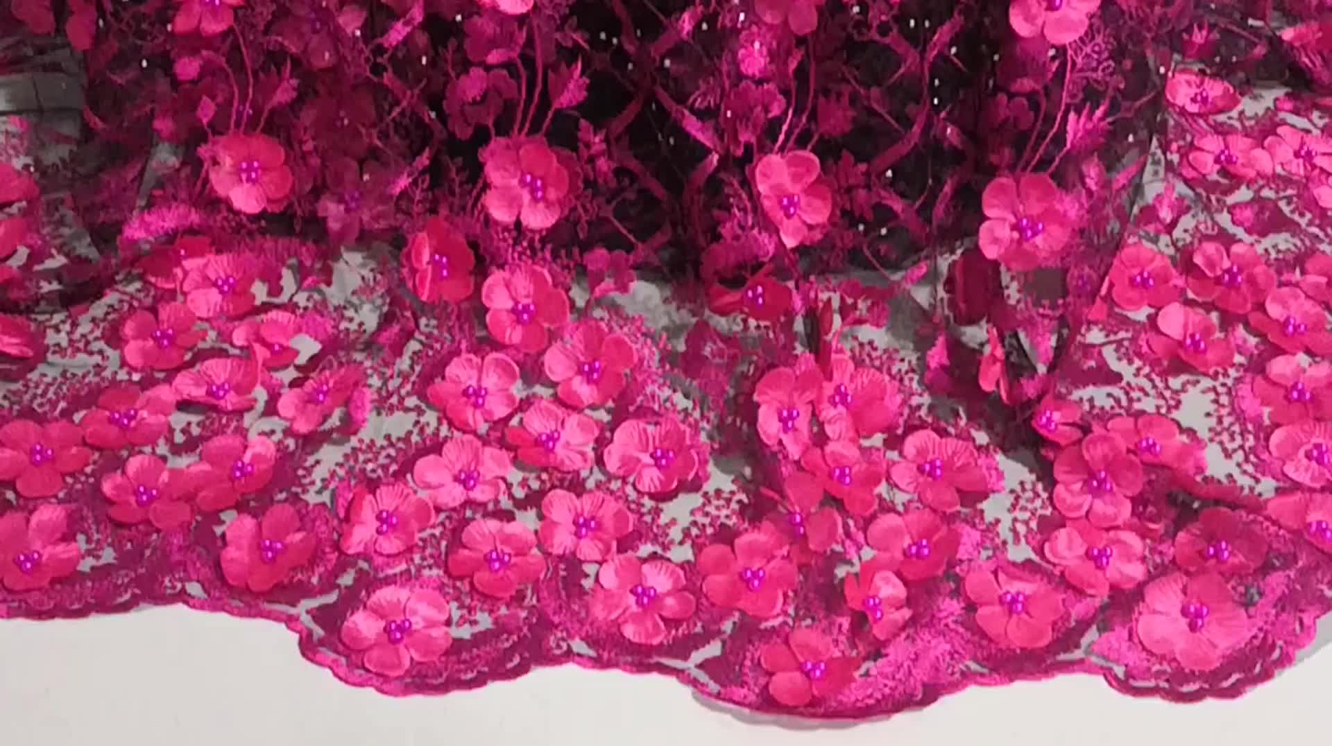 3D Flower Lace Embroidered Fabric Nigeria Laces bridal Lace Trim XZ2409B-1