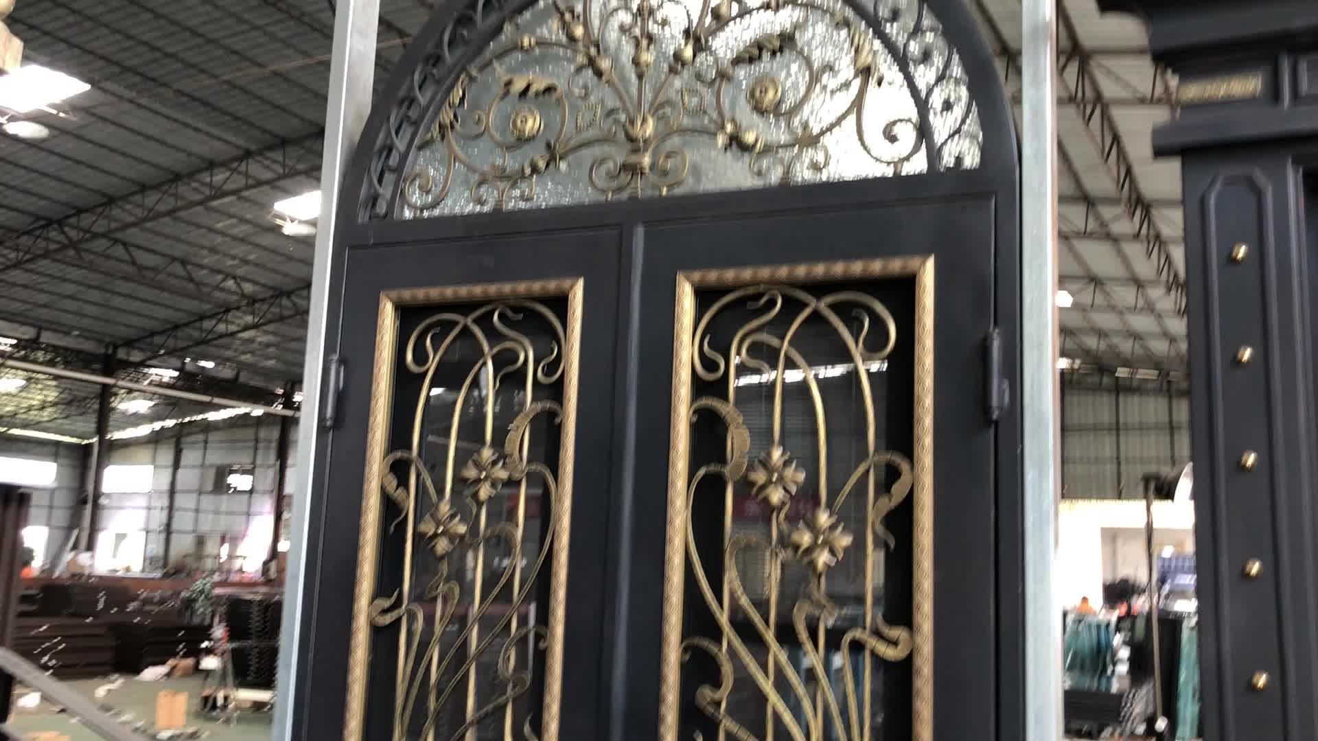 Hoge kwaliteit goedkope prijs smeedijzeren grill glas exterieur deur ontwerpen
