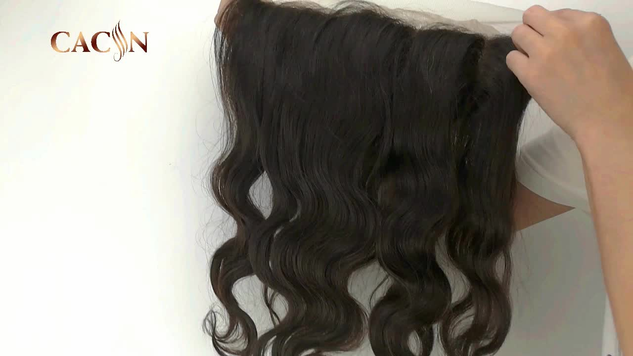 Raw Indian Human Hair Transparent Pre Plucked Skin 360 Swiss Lace Frontal Closure