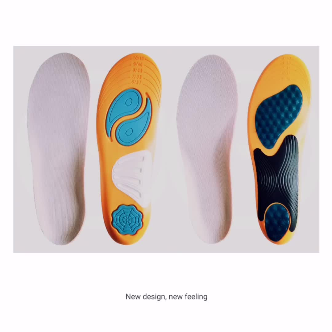 Amazon insole supplier breathable pu sport arch support shoe insole for flat foot with heel cup