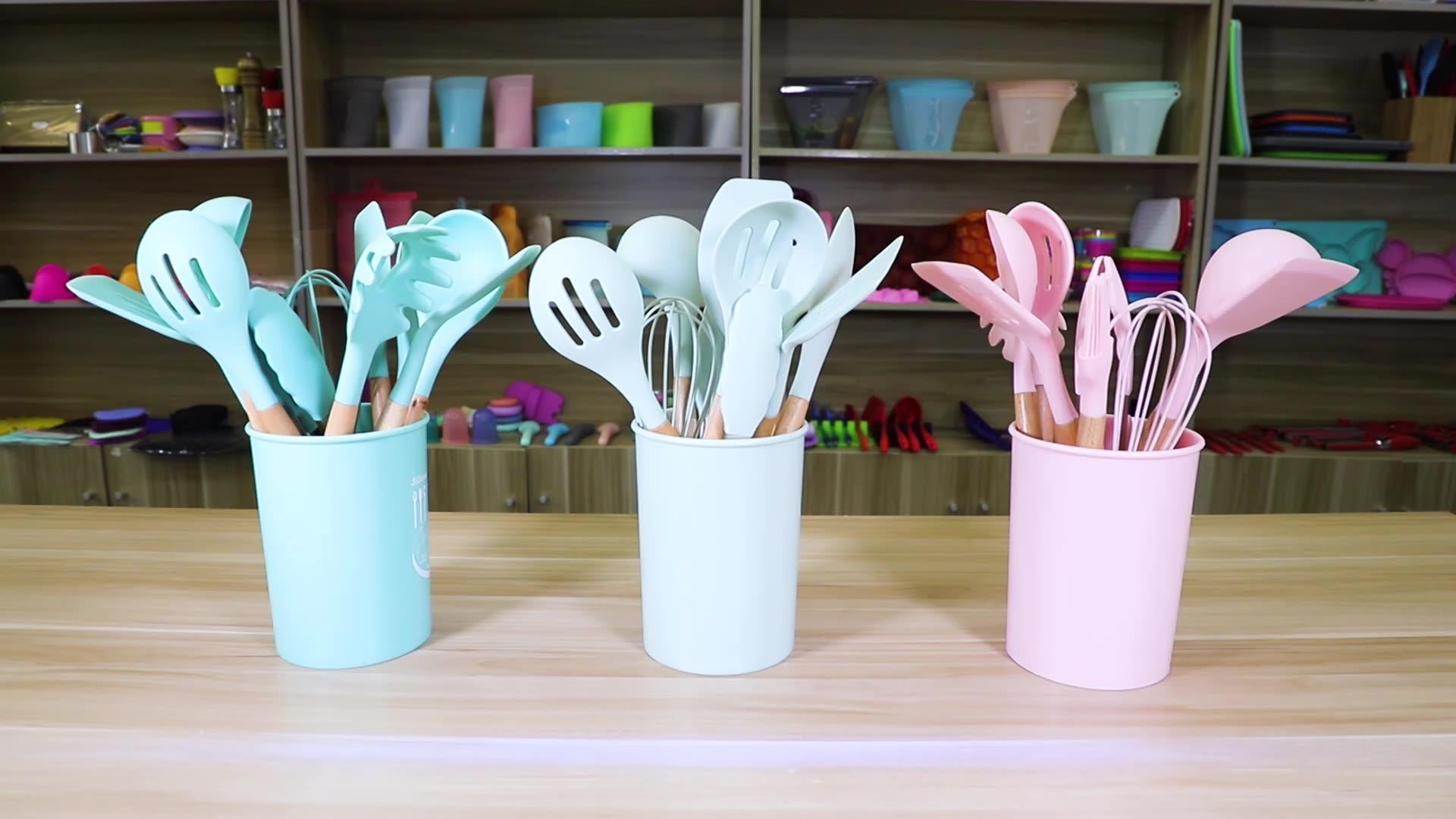 12-Piece Silicone Kitchen Utensil Set Kitchen Accessories With Wood Handle