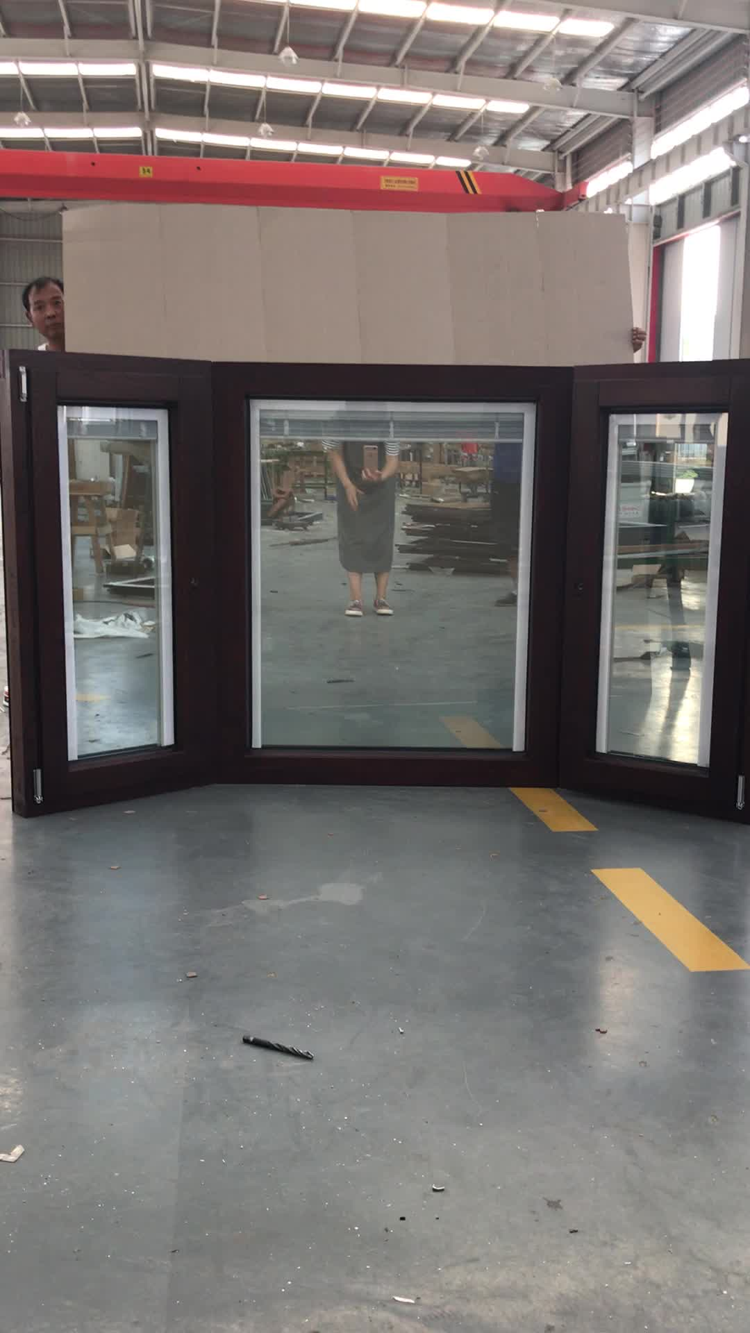 Aluminum wood double glazed Bay & Bow window with built-in shutter