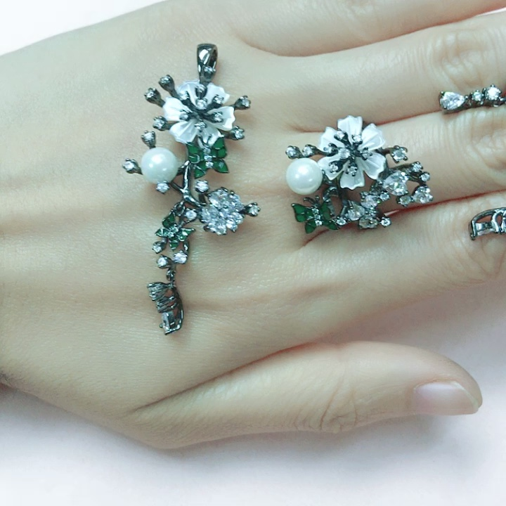 Neueste Ankunft Blumen schmuck Hochzeits set 925 Silber Schmuck Set