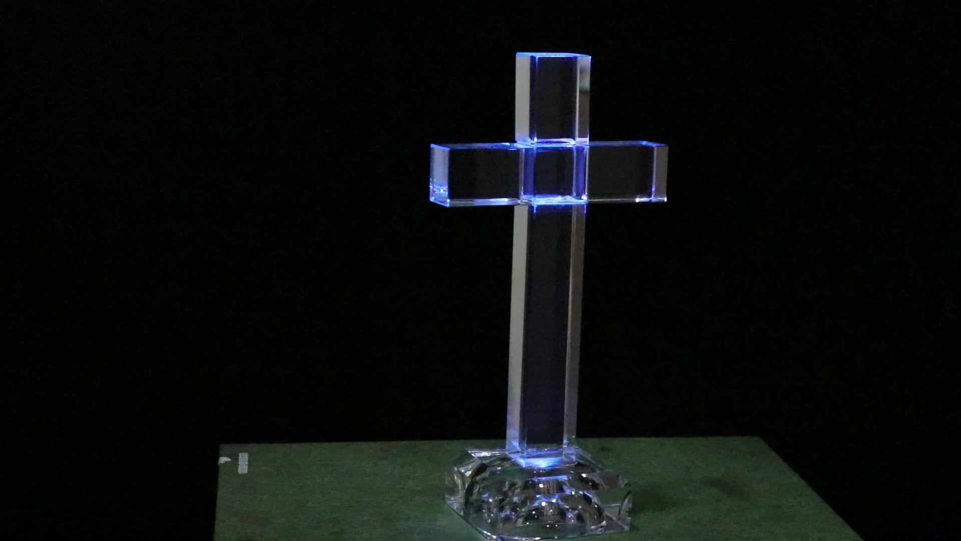 Jezus Christus Led Light Up Glas Staande Cross MH-15045