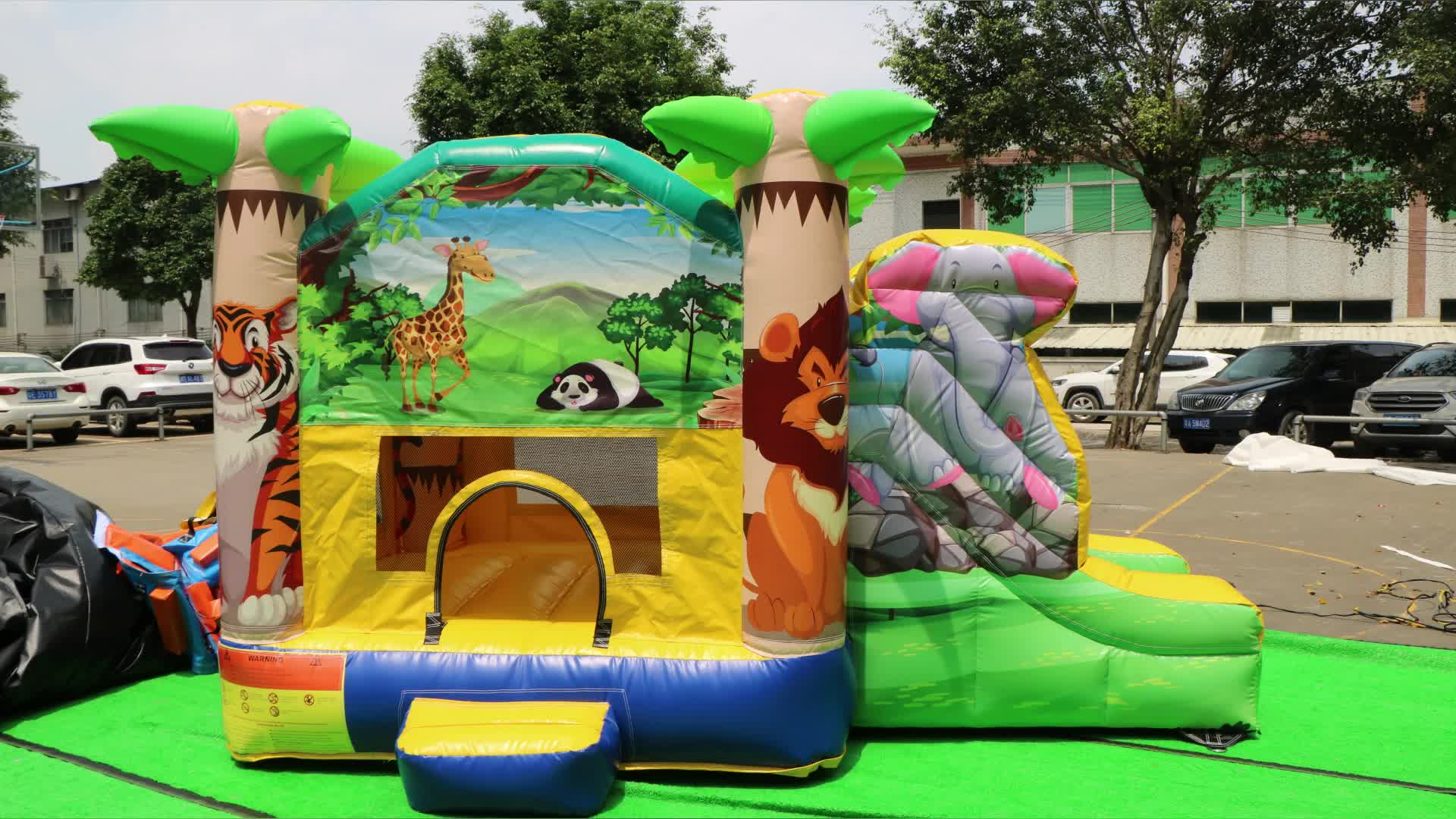Manufacturing high quality indoor small inflatable jungle slide inflatable bounce house combo
