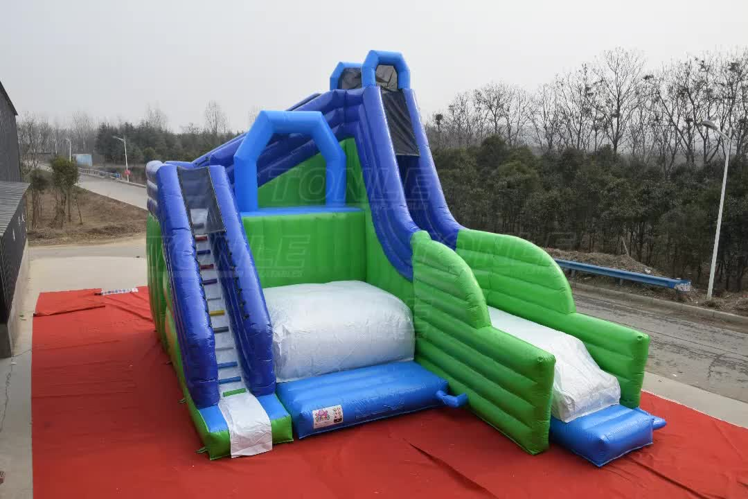 Commercial Giant Freestyle Jump and inflatable Slide/ Outdoor Kids Adult inflatable jump N' Slide for sale
