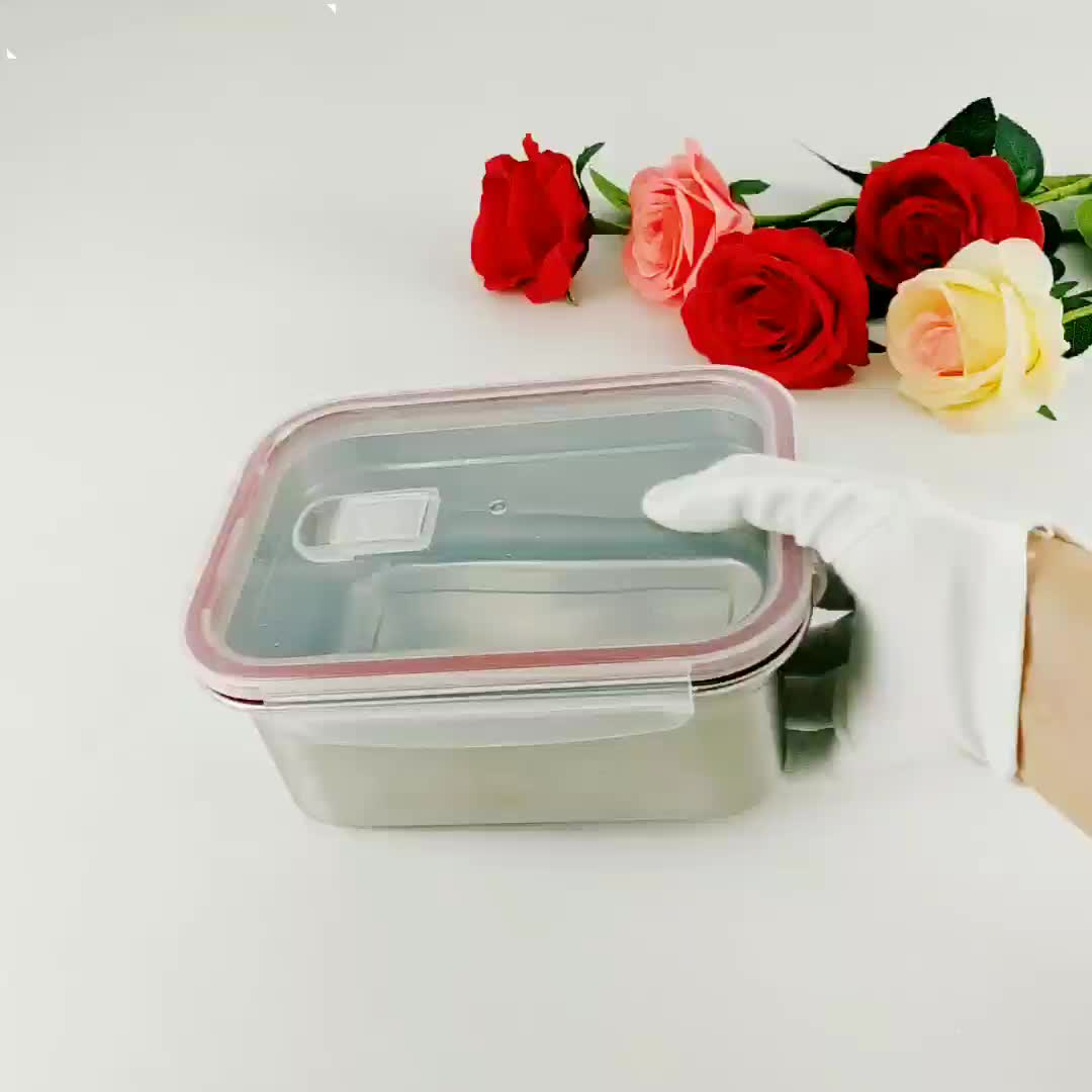 2020 Amazon new 500ml 1000ml Rectangular 304 leakproof bento kids lunch box food container stainless steel
