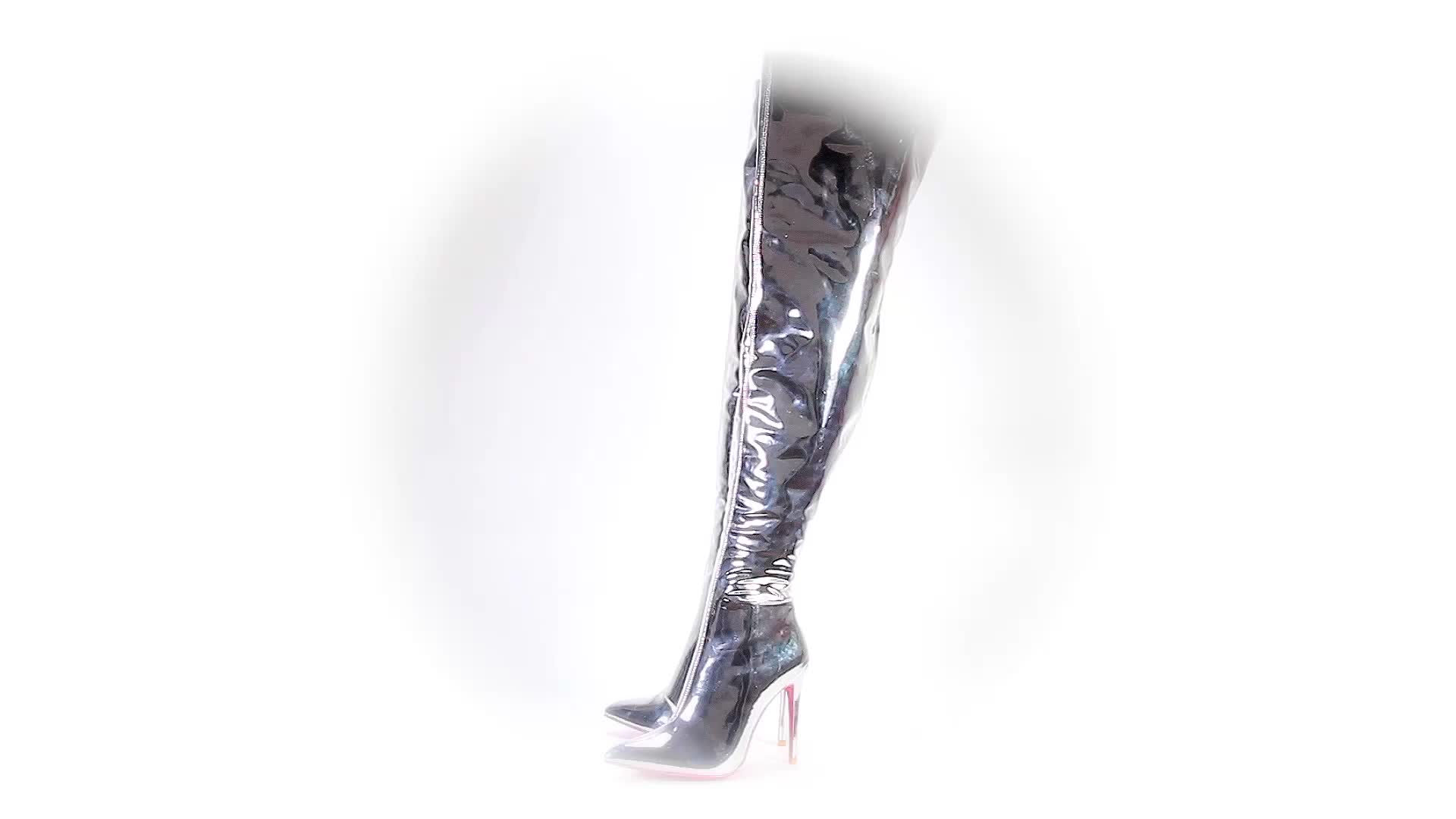 Silver Sexy sexy Tube Heels Foot Boots Girls Latex Boots Heels Thigh High Buy Product Fetish sexy lFKT1J3c