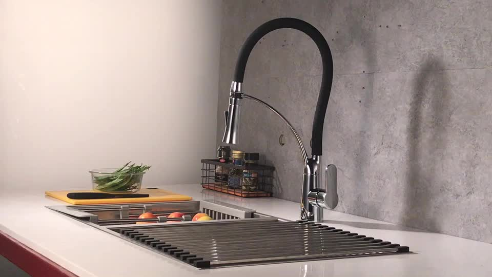 Commercial Single Handle Copper Tap Black Pull Out Spout Swivel Spray Kitchen Mixer Faucet for USA