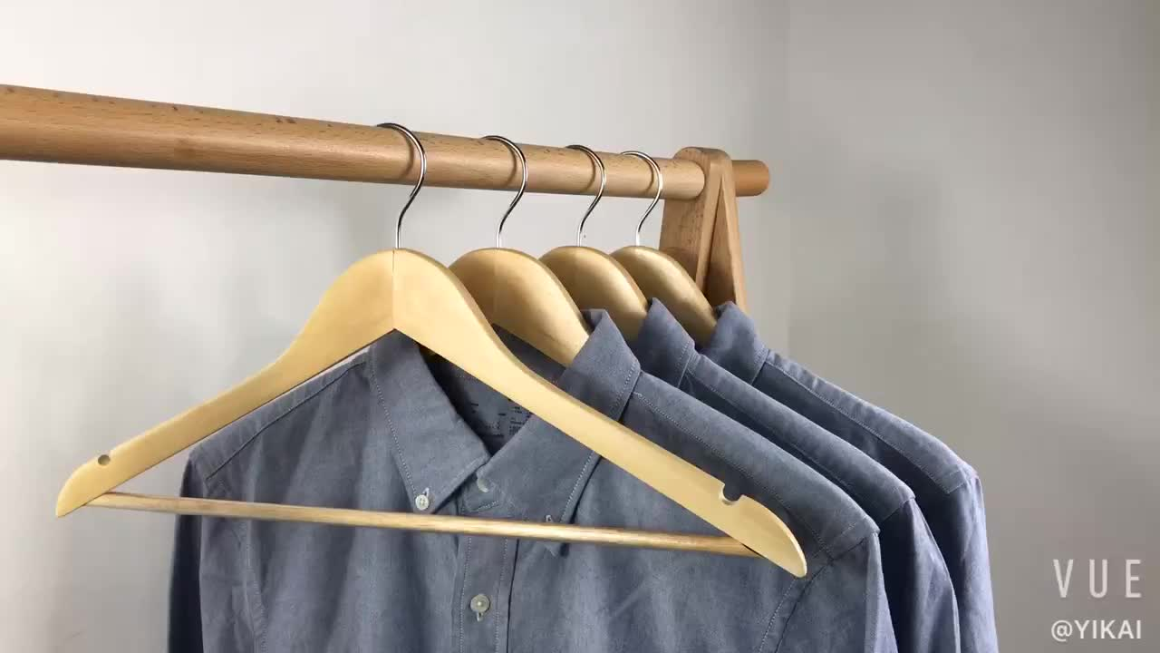 Hot sale 100pcs in one box wooden clothes hangers  Wood material cloth suit coat rack clothes wooden hanger
