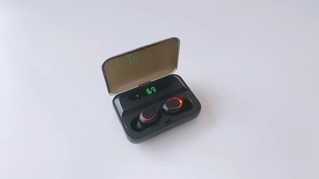 F9-5 अदृश्य वायरलेस Earbuds ईरफ़ोन बीटी शक्ति प्रदर्शन TWS का नेतृत्व किया निविड़ अंधकार ब्लूटूथ हेड फोन्स के साथ पावर बैंक चार्ज मामले
