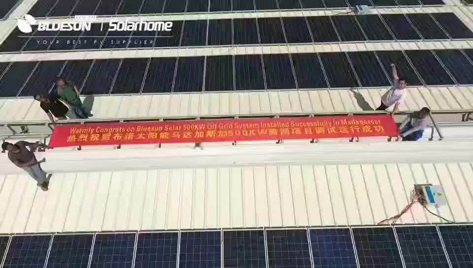 Bluesun 1kw 2kw pv panel solar power system home with China solar price