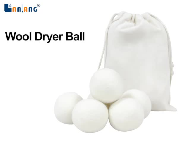 white eco 6 pack organic felted 7cm ball of wool for dryer clothes and laundry