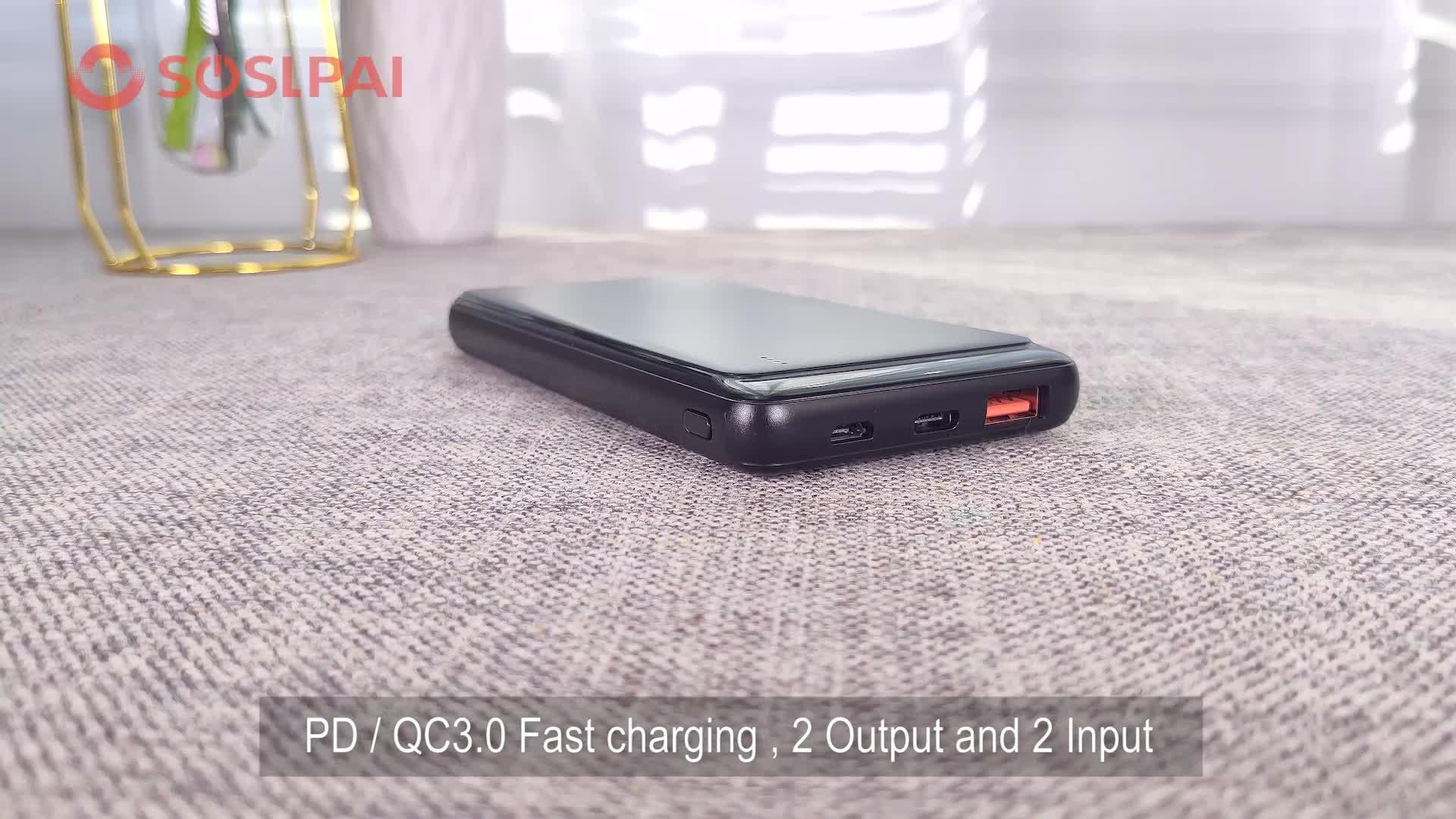 2019 Produk Baru Li-Polymer Baterai Ponsel Smart Power Bank 10000 MAh Portable Desain Slim Mobile Charger Power bank
