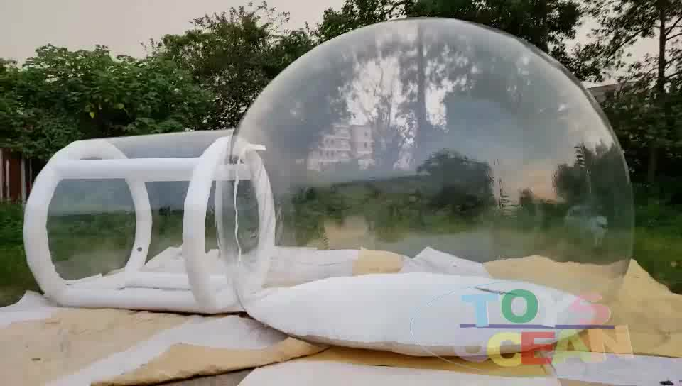 Outdoor 4m clear top resort transparent inflatable bubble camping tent with steel frame capsule tunnel for glamping