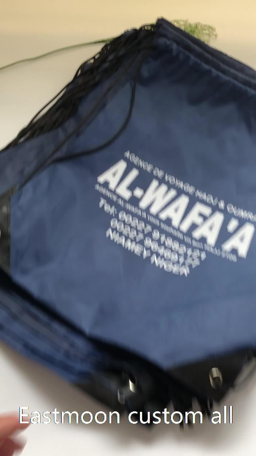 guangzhou manufacturer high quality custom nylon drawstring bag with logo for promotion