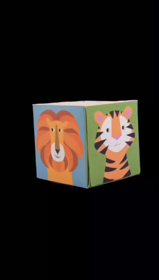 Factory Direct Supply Customize Tissue Facial  Cube Box with Animal Dinosaur Printed