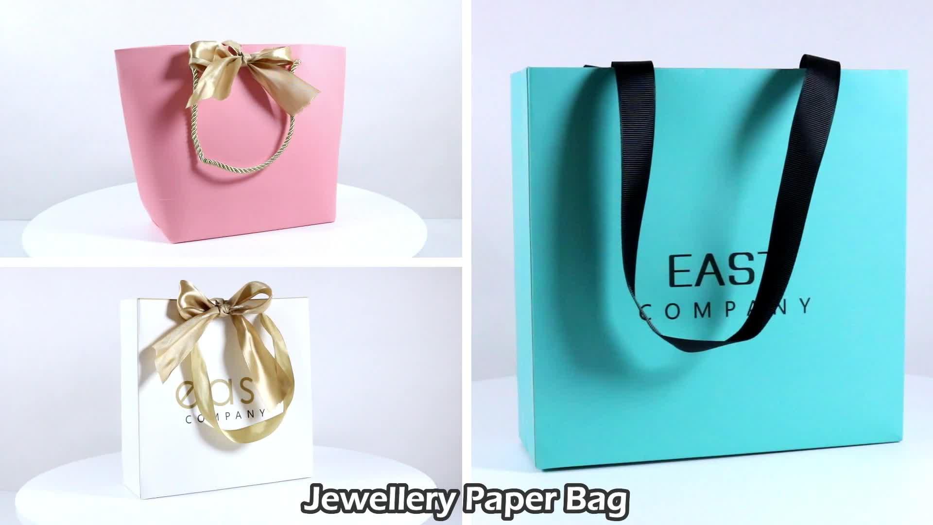 Cheap White Luxury Ribbon Handles Gift Shopping Custom