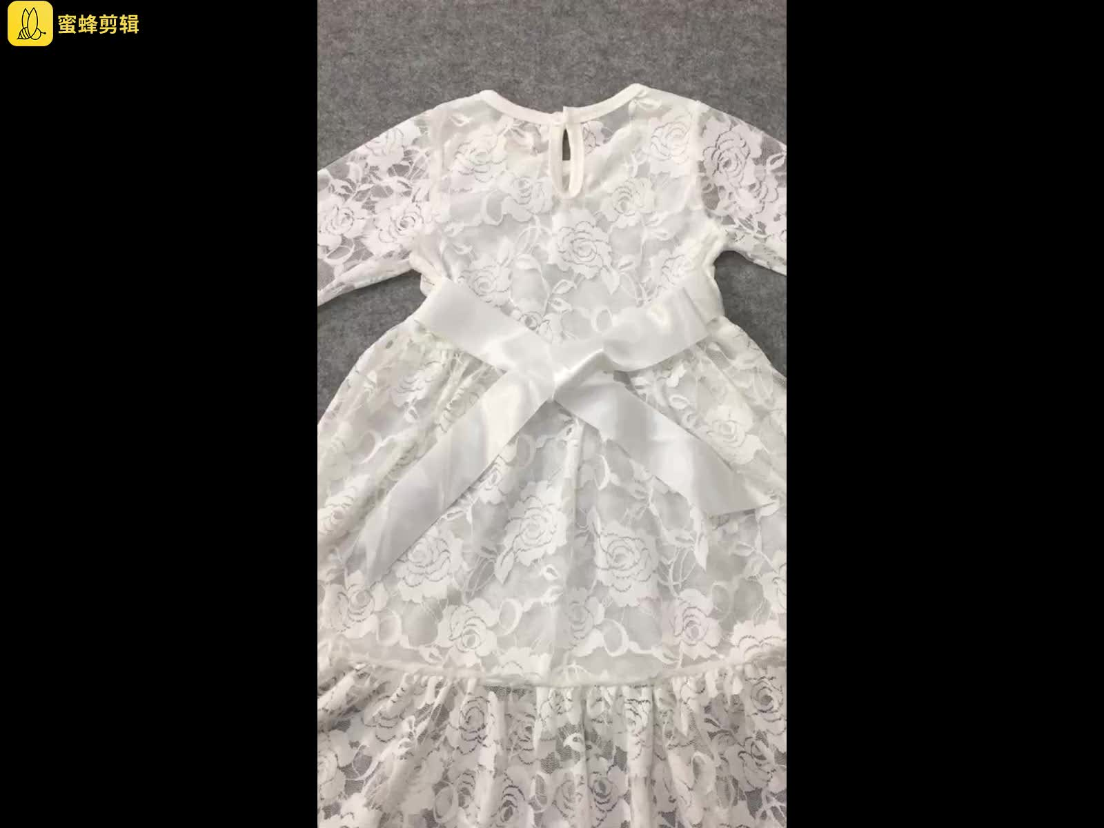2018 Wholesale Children white Dress Wedding flower girl dresses Long Sleeves Lace girls party dresses