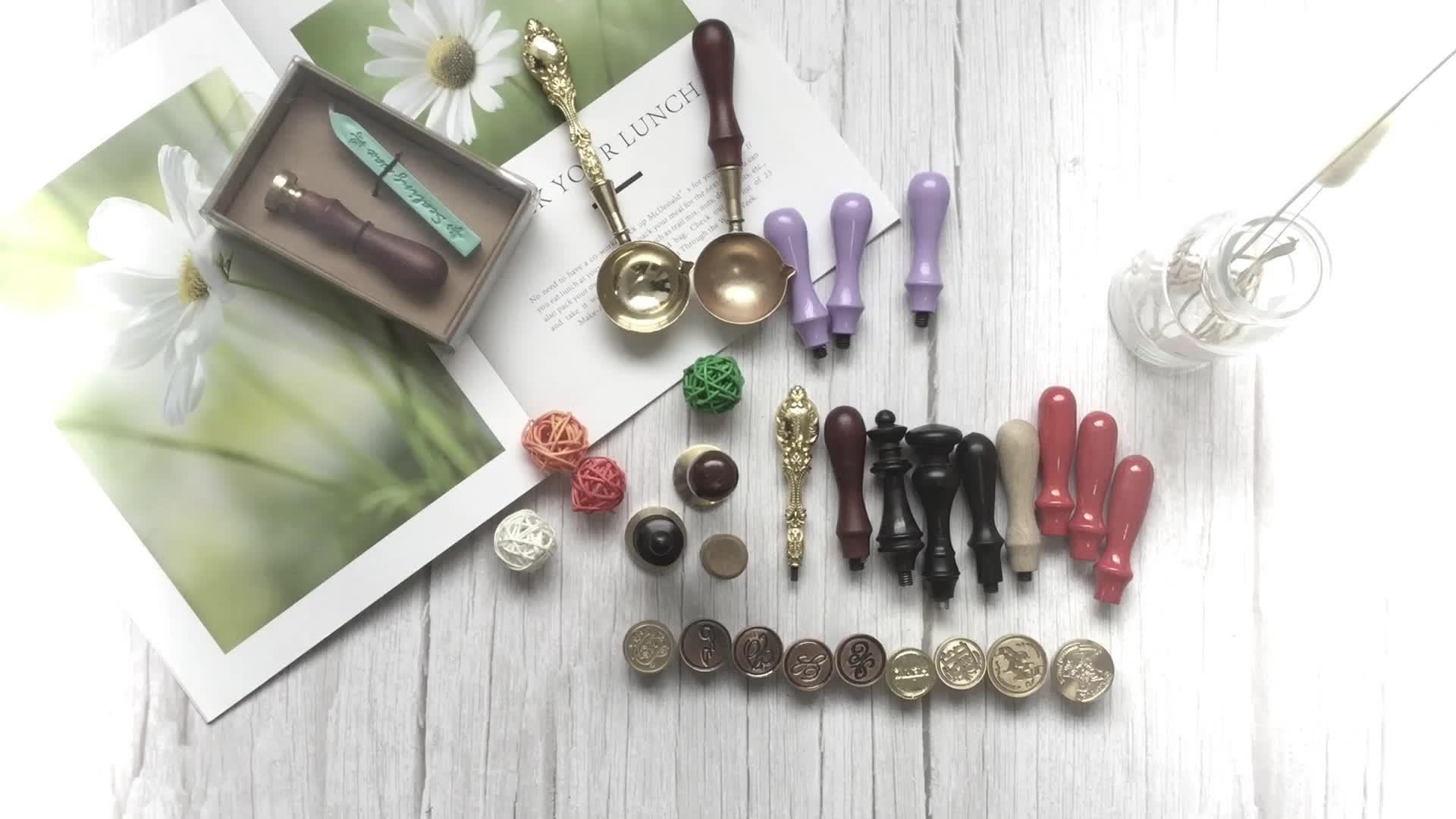JinYuan Antique Alphabet Wax Seal sealing Stamp Sticks Melting Spoon Candles Set with Gift Box (N )