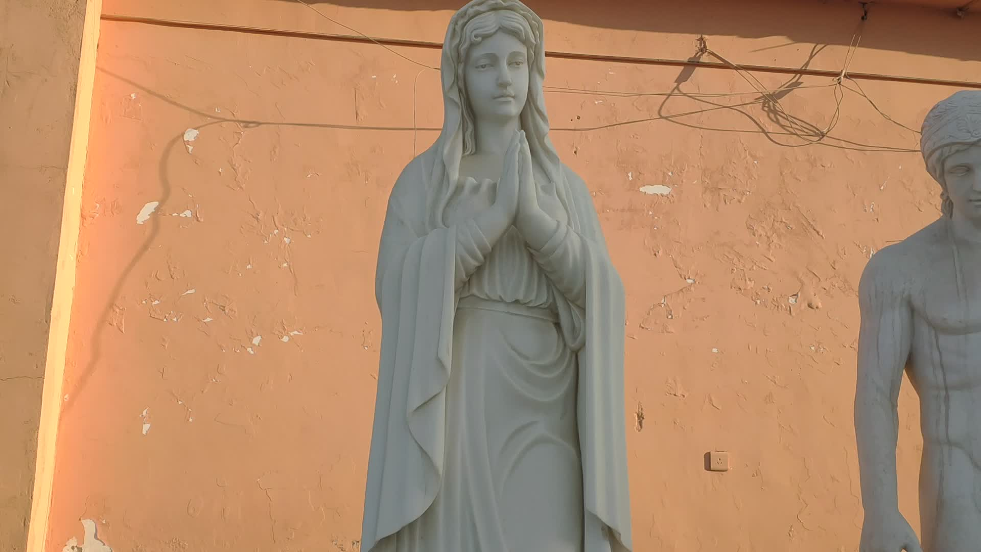 Sculpture art religious marble female stone virgin mary statue NTBSP-11