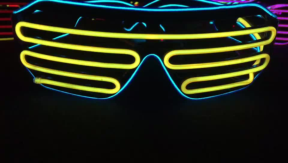 Single color 10 colors Party light up glow in the dark EL wire custom shutter sunglasses