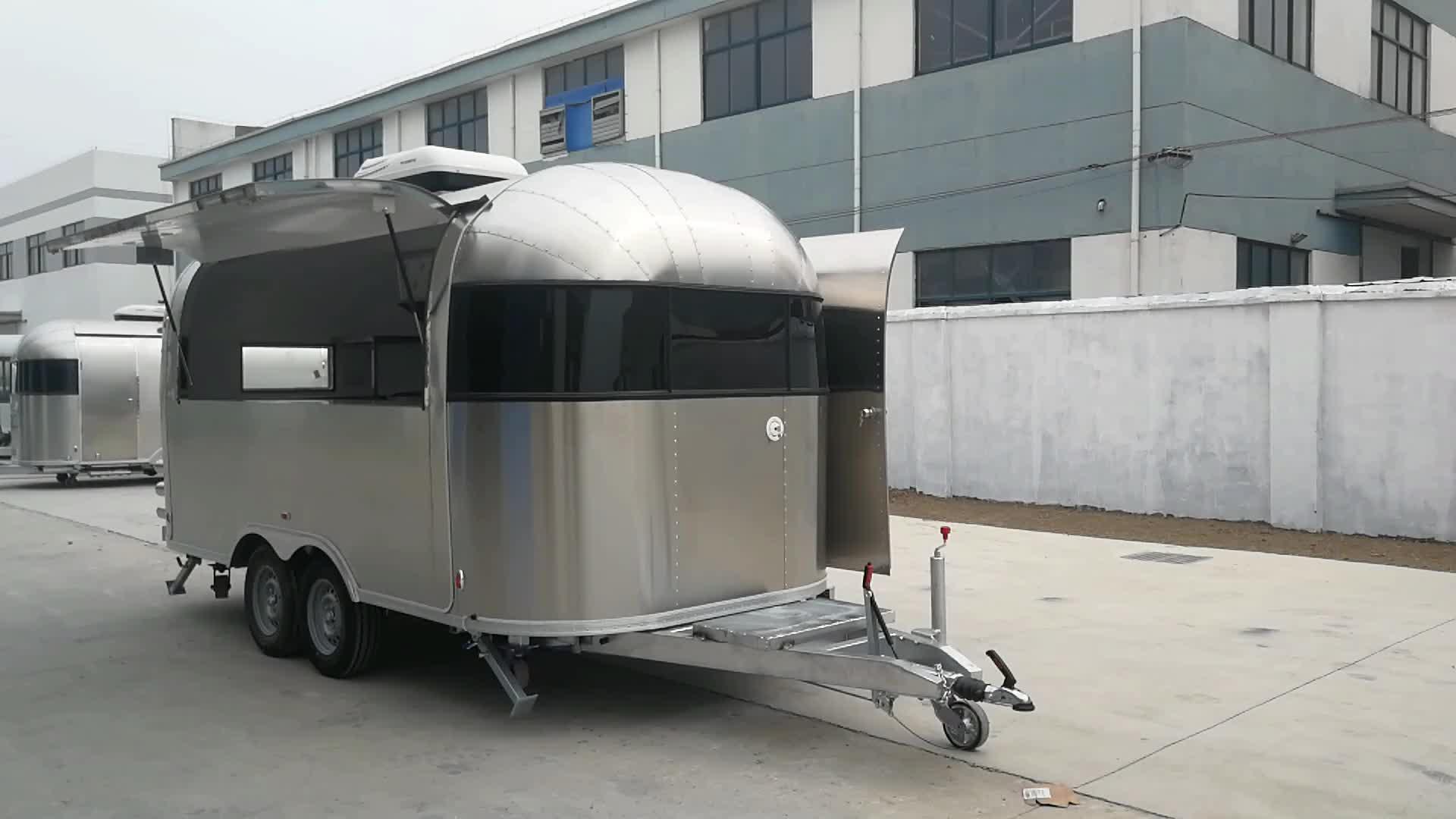 UKUNG vintage in acciaio inox satinato Airstream modello ristorazione rimorchio, mobile di lusso ristorante/cibo vending carrello